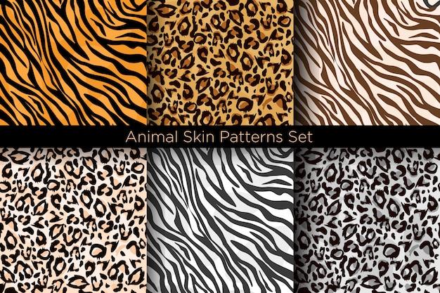Zestaw Ilustracji Zwierząt Bez Szwu Wydruków. Kolekcja Wzorów Tygrysów I Lampartów W Różnych Stylach. Premium Wektorów