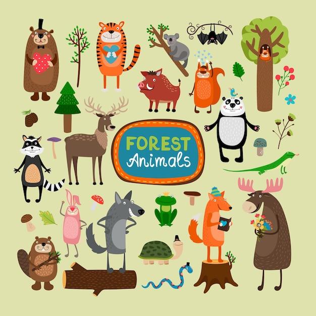 Zestaw Ilustracji Zwierząt Leśnych Darmowych Wektorów