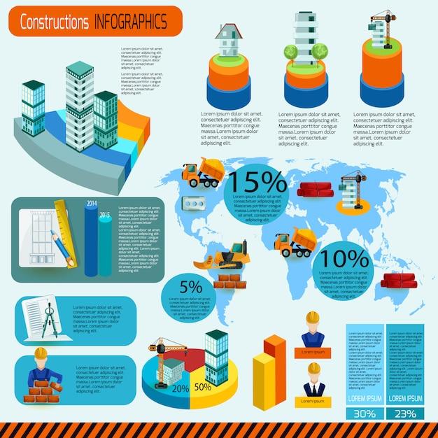 Zestaw infografiki budowlane Darmowych Wektorów