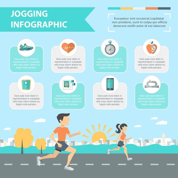 Zestaw infografiki jogging Darmowych Wektorów