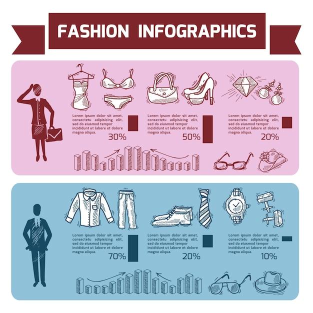 Zestaw infografiki moda Darmowych Wektorów