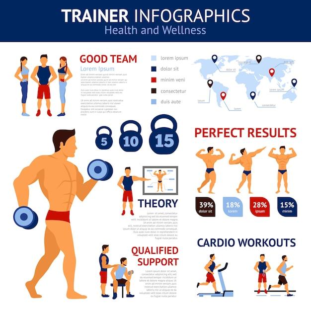 Zestaw Infografiki Trenera Darmowych Wektorów