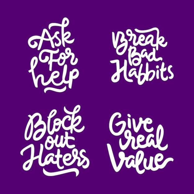 Zestaw inspirujący i motywujący cytat ręcznie rysowane napis Premium Wektorów