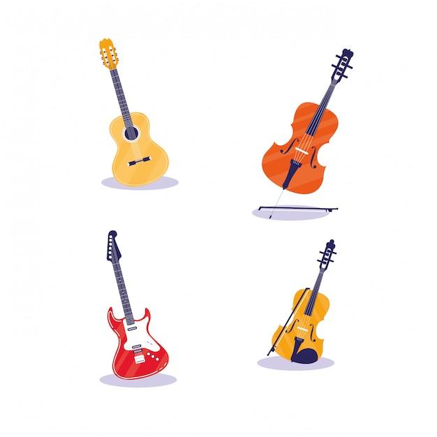 Zestaw instrumentów muzycznych Premium Wektorów