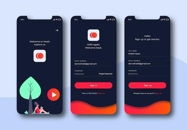 Zestaw interfejsu użytkownika do ekranów logowania muzyki do szablonów aplikacji mobilnych Premium Wektorów