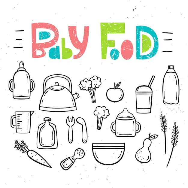 Zestaw izolatów żywności dla niemowląt i potraw dla dzieci. Premium Wektorów