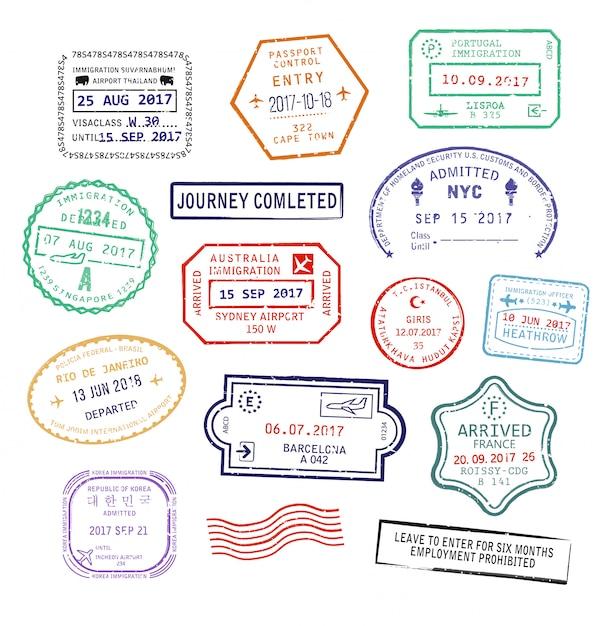 Zestaw izolowanych znaczków paszportowych do podróży do usa, miasta sydney w australii lub francji Premium Wektorów