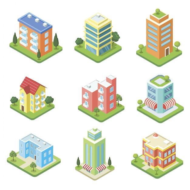 Zestaw izometryczny 3d budynków miejskich Premium Wektorów