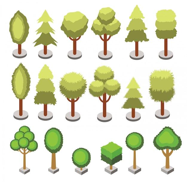 Zestaw Izometryczny 3d Drzewa O Różnych Kształtach Na Białym Tle. Wektorowe Izometryczne Ikony Drzewa Dla Map Izometrycznych, Projektowanie Gier. Zestaw Konstruktora Miasta. Premium Wektorów