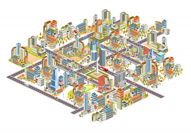 Zestaw izometryczny 3d gród z budynków, ulic, domów i wiele innych. 3d projektowania ilustracji wektorowych Premium Wektorów