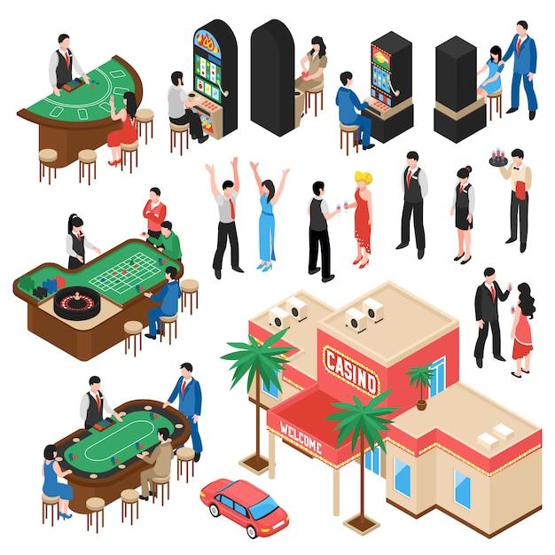 Zestaw izometryczny casino Darmowych Wektorów