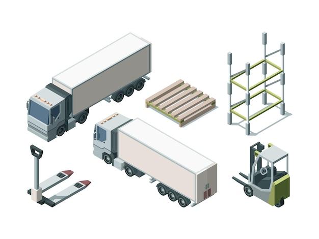 Zestaw Izometryczny Ciężarówek I Wyposażenia Magazynu. Pojazdy Do Transportu ładunków I Narzędzia Do Załadunku. Wózek Widłowy I Załadunek Palety. Koncepcja Logistyki. Wysyłka Towarów I Produktów Premium Wektorów