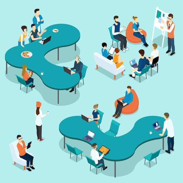 Zestaw Izometryczny Coworking People Darmowych Wektorów
