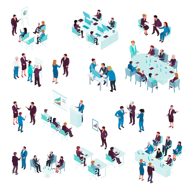 Zestaw izometryczny edukacji biznesowej Darmowych Wektorów