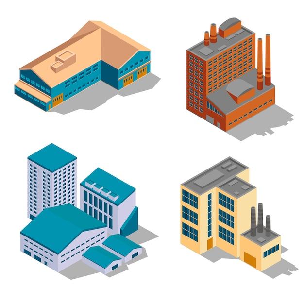 Zestaw Izometryczny Fabryki I Budynków Przemysłowych. Premium Wektorów