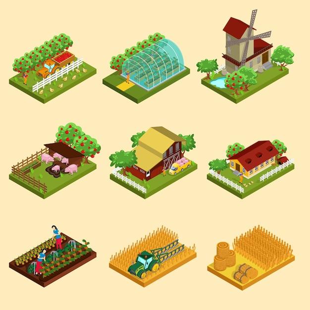 Zestaw Izometryczny Farmy Premium Wektorów