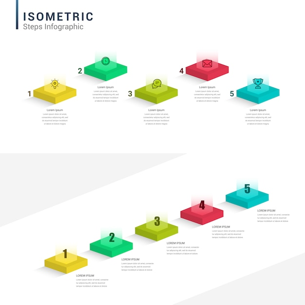 Zestaw Izometryczny Infographic, Diagramy, Wykresy, Wykresy. 1, 2, 3, 4 Kroki, Prezentacje, Cykl Pomysłów Premium Wektorów