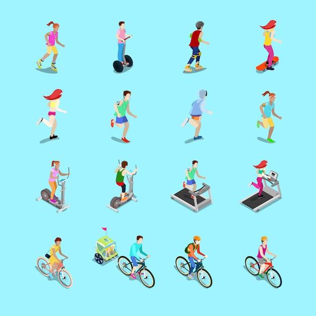 Zestaw Izometryczny Sportowców. Bieganie Ludzi, Rowerzysta Na Rowerze, Fitness Kobieta, Kobieta Na Deskorolce, Mężczyzna Na Rolkach. 3d Płaska Ilustracja Premium Wektorów