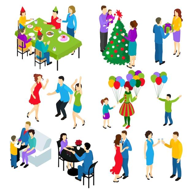 Zestaw Izometryczny świątecznych Ludzi Darmowych Wektorów