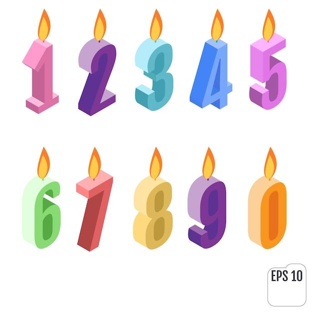 Zestaw Izometryczny świeczki Urodzinowe. Premium Wektorów