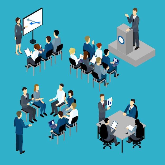 Zestaw Izometryczny Szkolenia Biznesowe Darmowych Wektorów