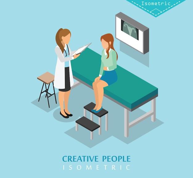 Zestaw izometryczny szpital i opieka medyczna d Premium Wektorów