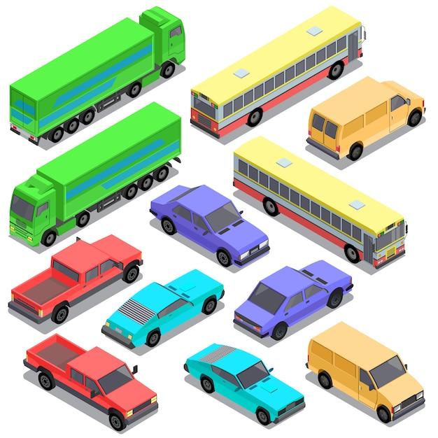 Zestaw izometryczny transport miejski, samochody Darmowych Wektorów