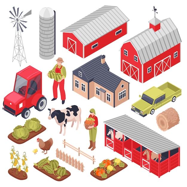 Zestaw Izometryczny Z Elementami Farmy Darmowych Wektorów