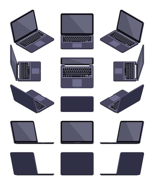 Zestaw izometrycznych czarnych laptopów Premium Wektorów