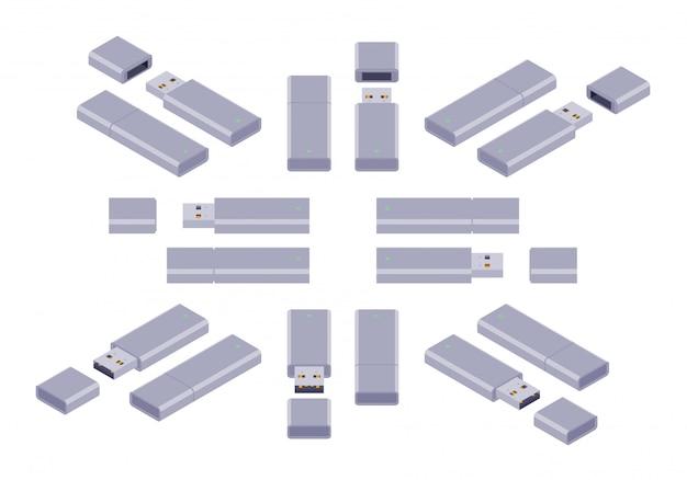 Zestaw izometrycznych napędów flash usb Premium Wektorów