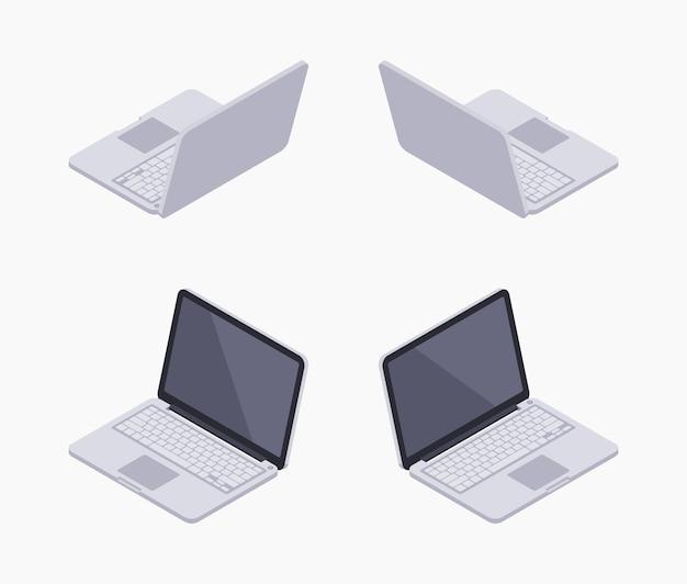 Zestaw izometrycznych srebrnych laptopów izometrycznych Premium Wektorów