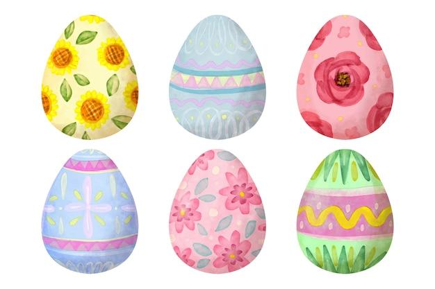 Zestaw Jajek Wielkanocnych W Stylu Przypominającym Akwarele Darmowych Wektorów