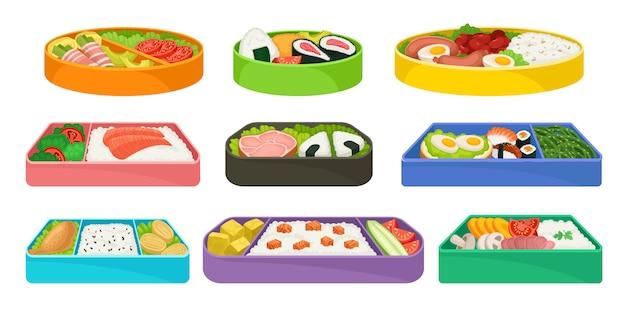 Zestaw Japońskich Potraw W Kolorowych Pudełkach Na Lunch. Premium Wektorów