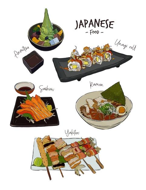 Zestaw japońskich potraw Premium Wektorów