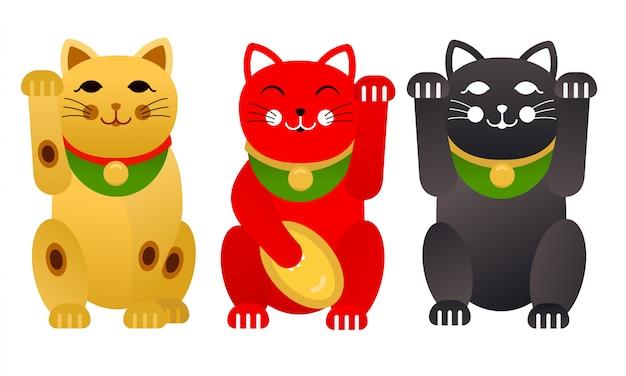 Zestaw Japońskich Szczęśliwych Kotów Lub Kotów Maneki Neko Premium Wektorów