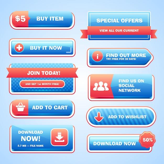 Zestaw Jasnych Przycisków Premium Wektorów