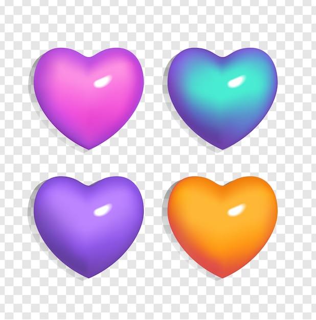 Zestaw Jasnych Serc 3d (kolor Niebieski, Fioletowy, Pomarańczowy I Różowy) Na Przezroczystym Tle. Gradientowe Oznaki Walentynki I Miłości. Ilustracja Na ślub, Plakat, Zaproszenie, Powitanie Samochodu Premium Wektorów