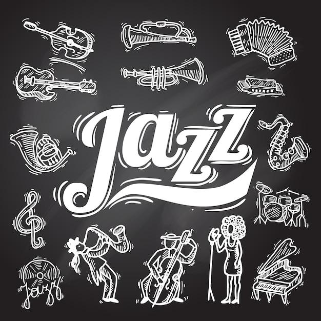 Zestaw Jazz Chalkboard Darmowych Wektorów