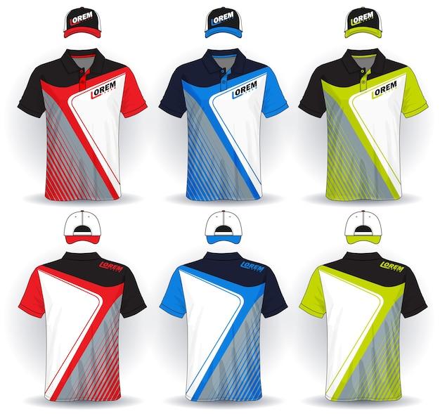 Zestaw Jednolity Szablon Koszulki Polo I Czapki Premium Wektorów