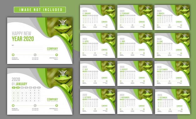 Zestaw kalendarzy 2020 Premium Wektorów