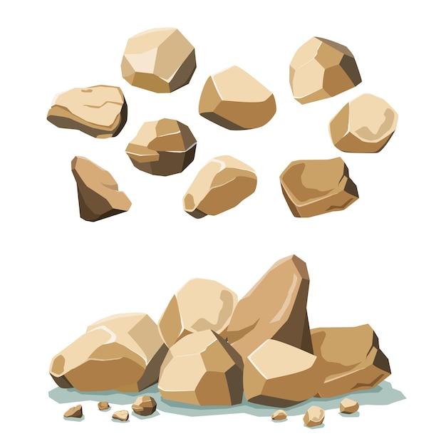 Zestaw Kamieni I Kamieni Premium Wektorów