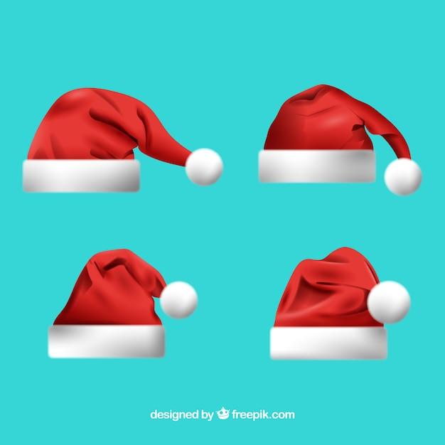 Zestaw Kapelusz Santa Claus Darmowych Wektorów