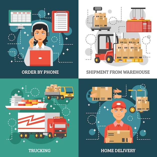 Zestaw kart dostawy logistyki Darmowych Wektorów