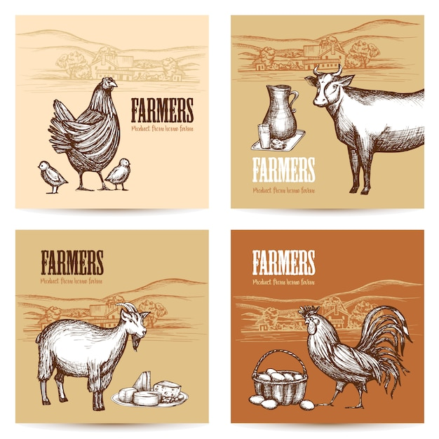 Zestaw Kart Farm Darmowych Wektorów