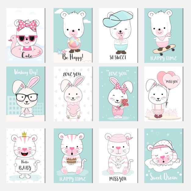 Zestaw kart kreskówka cute baby zwierząt Premium Wektorów