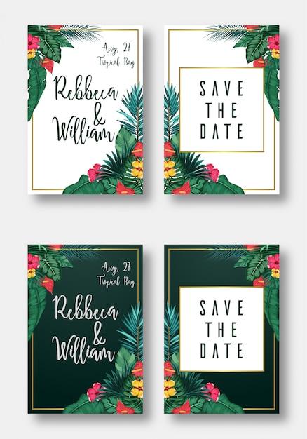 Zestaw kart kwiatowy zaproszenie na ślub, zapisz datę i ramkę Premium Wektorów
