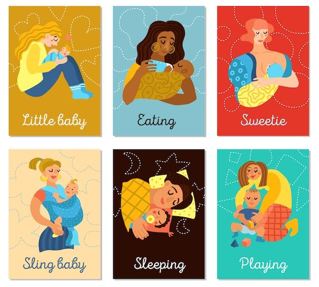 Zestaw kart macierzyństwa Darmowych Wektorów