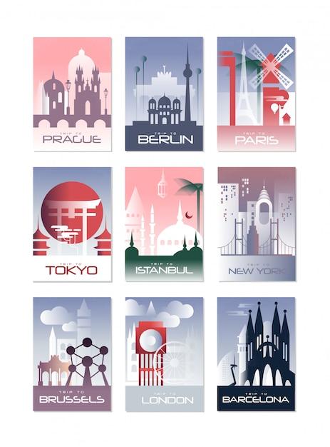 Zestaw Kart Miejskich, Szablon Krajobrazu Ulotki, Plakat, Okładka Książki, Baner, Berlin, Paryż, Tokio, Stambuł, Bruksela, Nowy Jork, Londyn, Ilustracje Barcelony Premium Wektorów