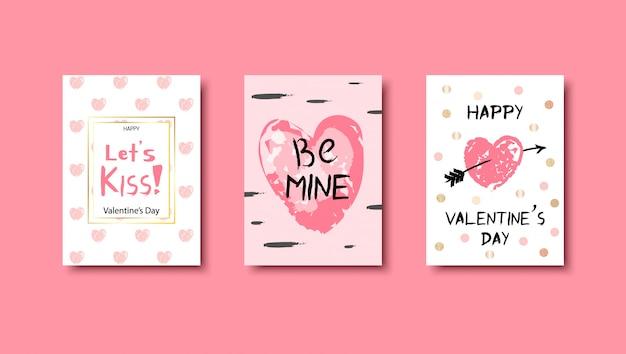 Zestaw Kart Miłości Wyciągnąć Rękę Premium Wektorów