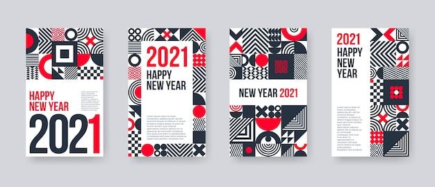 Zestaw Kart Okolicznościowych Nowego Roku. Plakat Z Geometrycznymi Kształtami I Wzorem. Premium Wektorów